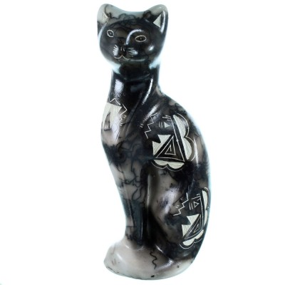 American Indian Cat And Water Wave Horse Hair Pottery By Tom Vail Jr. RX110371