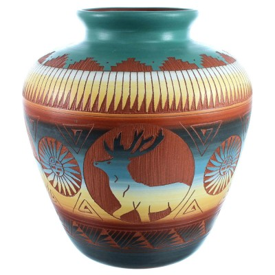 Hand Crafted Wolf Sun And Deer Pot By Navajo Artist Marilena Sam  RX110381