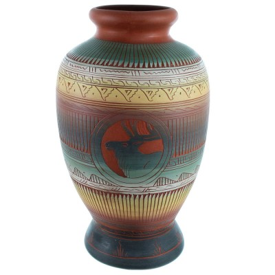 Hand Crafted Deer Pot By Navajo Artist Betty Sam SX111136