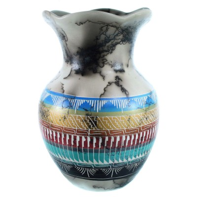 Hand Crafted Navajo Horse Hair Pot By Aileen Yazzie SX111138