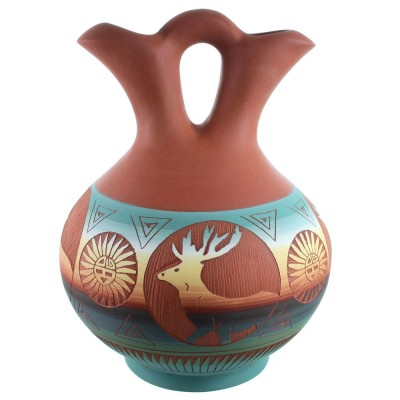 Navajo Hand Crafted Deer Wedding Vase By Marilena Sam SX111141