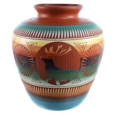 Navajo Deer And Hummingbird Pot Hand Crafted By Marilena Sam SX111144