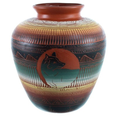 Hand Crafted Navajo Wolf Pot By Artist Betty Sam SX111142