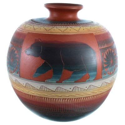 Hand Crafted Navajo Bear Pot By Artist Betty Sam SX111188