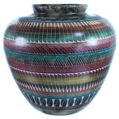 Navajo Horse Hair Hand Crafted Pot By Artist Sylvia Johnson SX112061