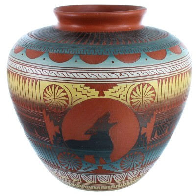 Navajo Hand Crafted Wolf Pot By Artist Betty Sam SX112209