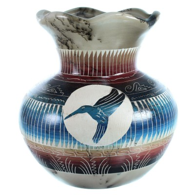 Navajo Hand Crafted Horse Hair Hummingbird Pot By Marilyn Kinliche SX112272