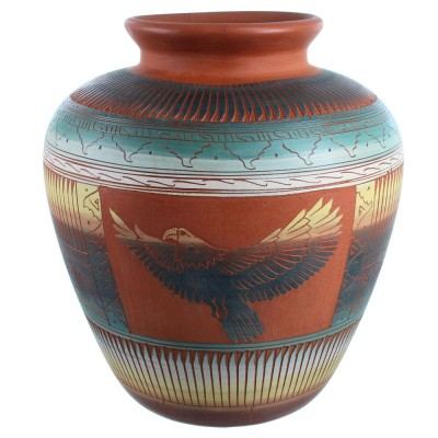 Hand Crafted Navajo Eagle Pottery By Artist Betty Sam SX113572