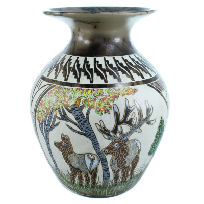 Hand Crafted Navajo Horse Hair Deer Pottery By Artist Everson Whitegoat SX115358