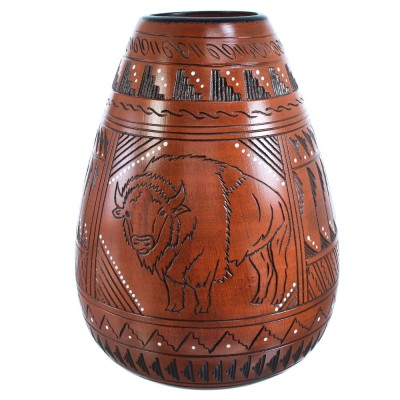 Navajo Buffalo Pot Hand Crafted By Artist Shyla Watchman SX115406