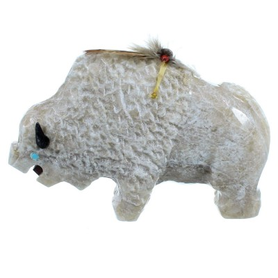 Navajo Indian Hand Crafted Alabaster Fetish Buffalo Figurine By Ben Livingston DX116374