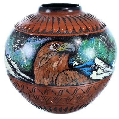 Eagle And Hummingbird Hand Crafted Native American Pot BX116596
