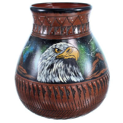 Hand Crafted Eagle And Hummingbird Native American Pot BX116606