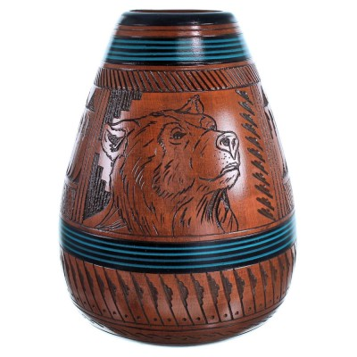 Hand Crafted Bear Navajo Vase ZX116552