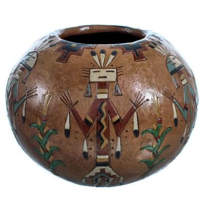 Navajo Kachina Figure Hand Crafted Pot By Artist Nancy Chilly RX117905