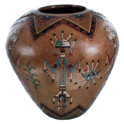 Navajo Hand Crafted Kachina Figure Pot By Artist Nancy Chilly RX117914