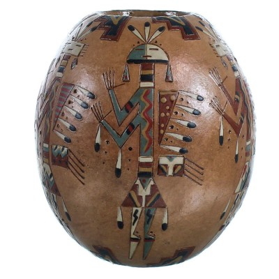 Native American Hand Crafted Kachina Figure Pot By Artist Nancy Chilly RX117884