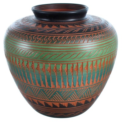 Navajo Indian Hand Crafted Pot By Artist Ernie Watchman RX117989