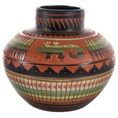 Navajo Lizard Hand Crafted Traditional Pottery By Artist Bernice Watchman Lee BX118821