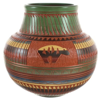 American Indian Hand Crafted Bear Pottery By Artist Bernice Watchman Lee BX118822