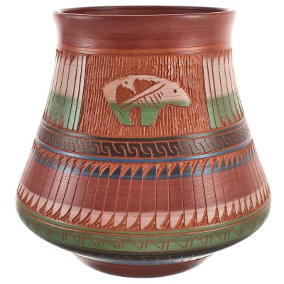 Hand Crafted Bear Native American Pottery By Artist Bernice Watchman Lee BX118824