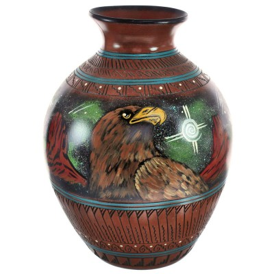 Hand Crafted Hummingbird Eagle Bear Native American Pot By Artist Shyla Watchman BX118826
