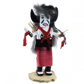 American Indian Navajo Indian Gray Haired Buffalo Kachina Doll NX99473