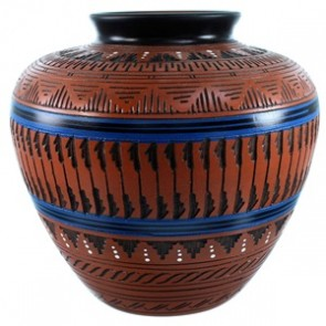 Hand Crafted Pot By Native American Artist Derrick Watchman RX110354