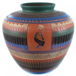 Navajo Hand Crafted Kokopelli Pot By Artist Derrick Watchman RX110355