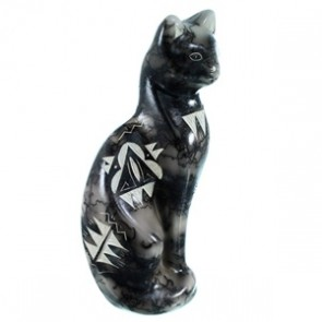 Cat Horse Hair Pottery By Navajo Artist Tom Vail Jr. RX110376
