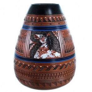 Hand Crafted Deer Pot By Navajo Indian Artist Ernie Watchman RX110379