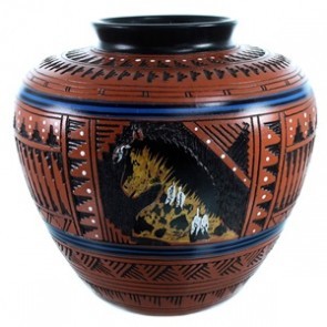 Navajo Hand Crafted Deer Pot By American Indian Artist Derrick Watchman RX110380
