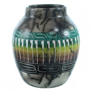 Navajo Hand Crafted Horse Hair Pot By Cecelia Benally SX110396