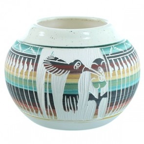 Flower Humming Bird Hand Crafted Pot By Native American Tamaria Arviso SX110403