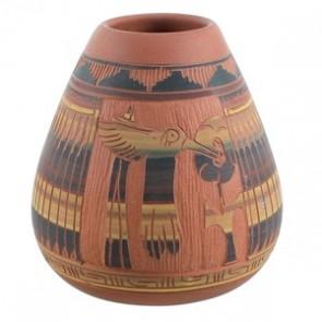 Humming Bird And Flower Navajo Hand Crafted Pot By Tamaria Arviso SX110399