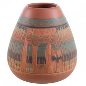 Navajo Humming Bird Flower Hand Crafted Pot By Tamaria Arviso SX110398