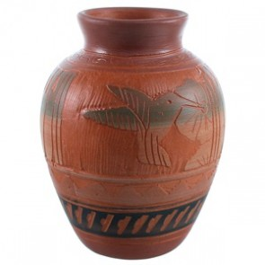 Humming Bird Flower Navajo Hand Crafted Pot By Bernice Watchman Lee SX110382