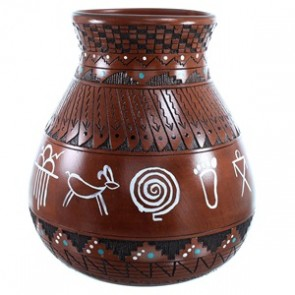 American Indian Navajo Hand Crafted Pot By Shyla Watchman SX111140