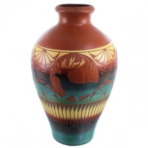 Deer And Wolf Navajo Hand Crafted Pot By Marilena Sam SX111145