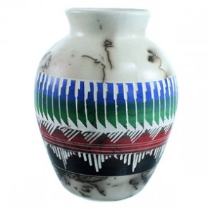 Native American Horse Hair Pot Hand Crafted By Larry Livingston SX111151