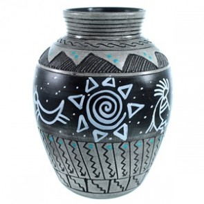 Native American Hand Crafted Symbol Pot By Artist Shyla Watchman SX111166