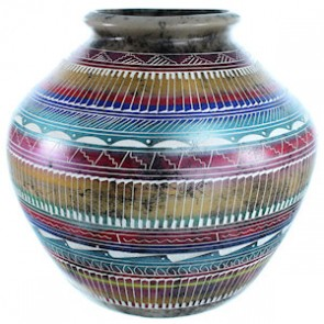 Hand Crafted Horse Hair Navajo Pot By Artist Sylvia Johnson SX111189