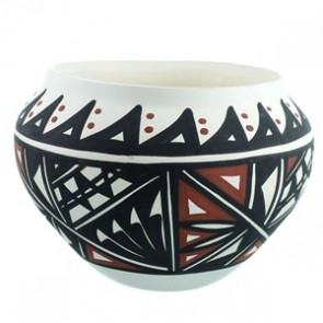 Acoma Native American Hand Crafted Pot By Lindsey Poncho SX111777