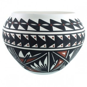 Native American Hand Crafted Acoma Pot By Artist Lindsey Poncho SX111781