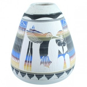 Navajo Hand Crafted Hummingbird Flower Pot By Tamaria Arviso SX112143