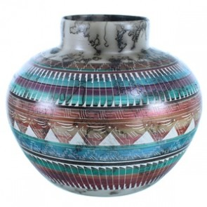 Horse Hair Navajo Pot Hand Crafted By Artist Sylvia Johnson SX112062