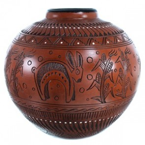 Navajo Corn And Rabbit Hand Crafted Pot By Shyla Watchman SX112087