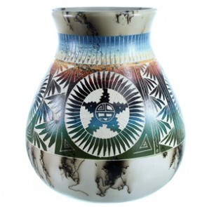 Hand Crafted Horse Hair Navajo Sun Pot By Marilina Sam SX112066