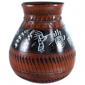 Hand Crafted Navajo Kokopelli Corn Pot By Artist Shyla Watchman SX112207