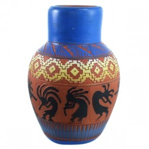Navajo Kokopelli Pot Hand Crafted By Artist Gray SX112234
